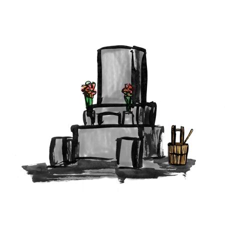 お墓の墨絵イラスト