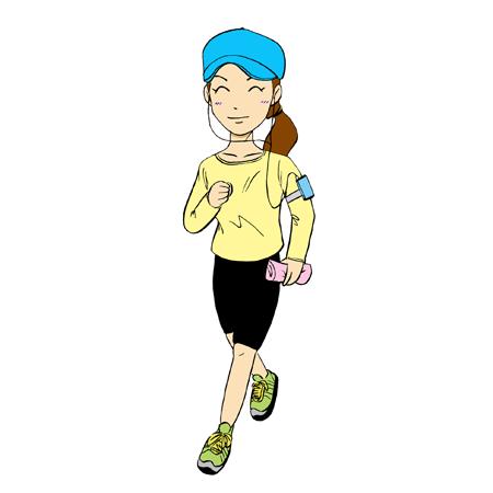 女性ランナーマラソンイラスト1