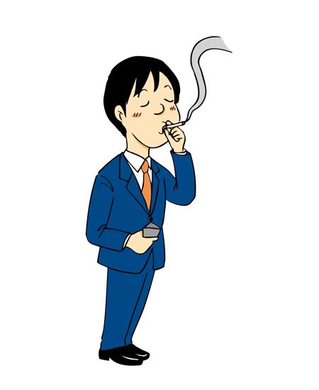 タバコを吸う男性サラリーマンイラスト