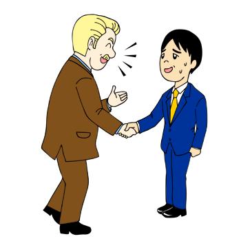 外国人との英会話戸惑うイラスト