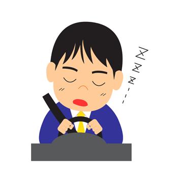 居眠り運転をする男性イラスト