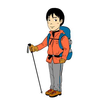 登山装備男性イラスト