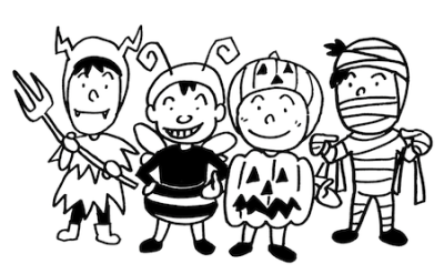 ハロウィンの子どもたち線画