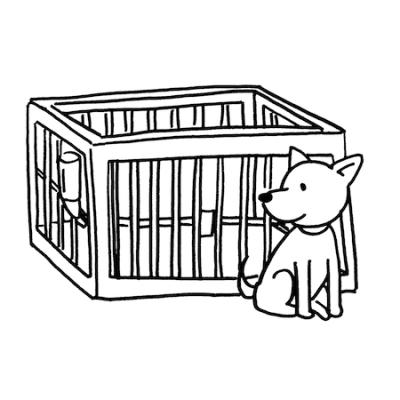 犬用ケージサークル線画