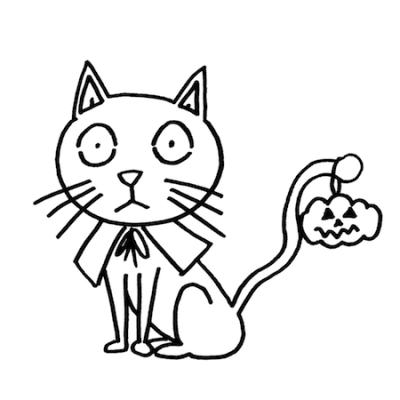 ハロウィン黒猫線画