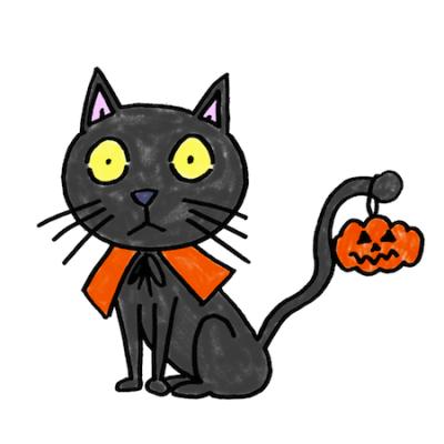 ハロウィン黒猫イラスト