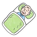 布団で寝るおじいさんお年寄り