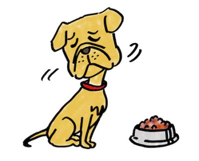 食欲と元気がない犬イラスト