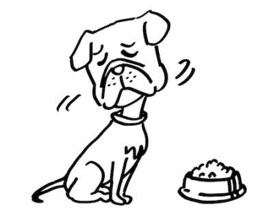 食欲と元気がない犬線画
