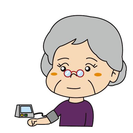 血圧を計る高齢者イラスト