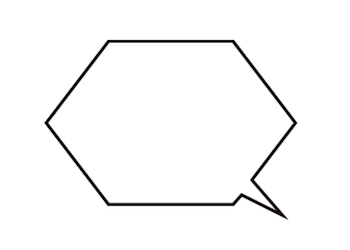 六角形の吹き出しイラスト白