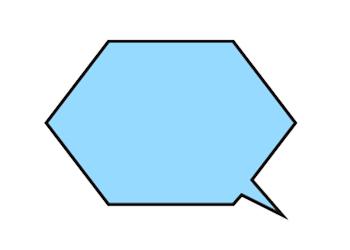 六角形の吹き出しイラスト青色