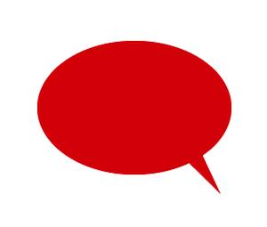 楕円形吹き出しイラスト赤