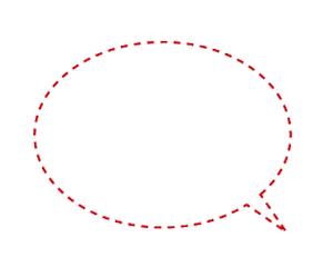 点線破線の吹き出しイラスト赤