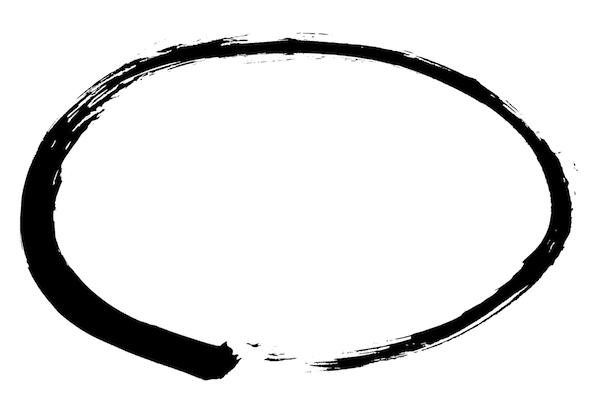 楕円の丸状墨枠フレーム