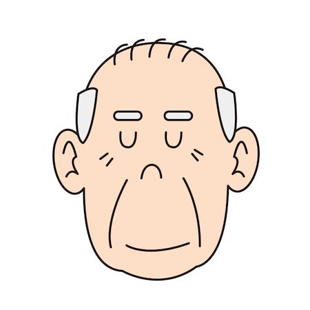 目を閉じているおじいちゃんイラスト
