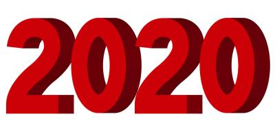2020年3D立体文字ロゴイラスト赤色