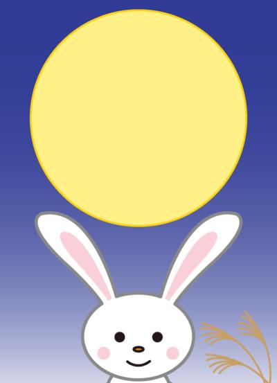 十五夜の満月とうさぎのフレーム枠イラスト