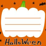 ハロウィンお化けかぼちゃ枠メッセージカードイラスト