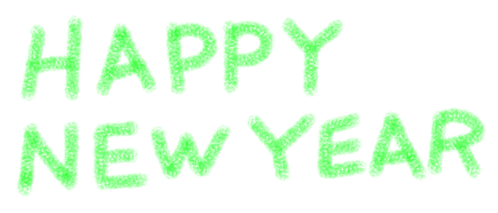 HAPPY NEW YEARハッピーニューイヤークレヨンタッチ緑色