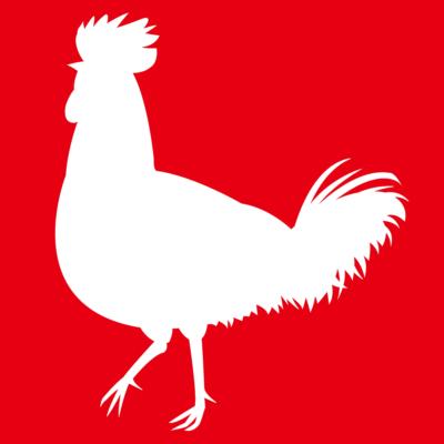 ニワトリ鶏シルエット影絵イラスト白抜き赤