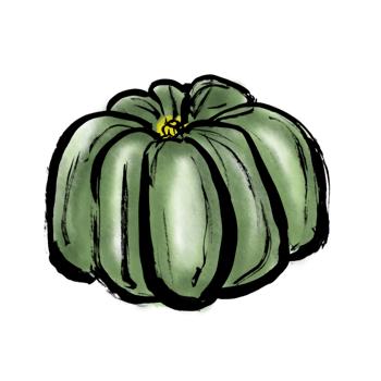 かぼちゃイラスト墨絵無料素材