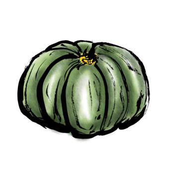 かぼちゃイラスト墨絵無料素材2