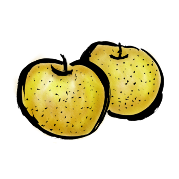梨の墨絵イラスト