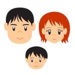 親子3人顔イラスト
