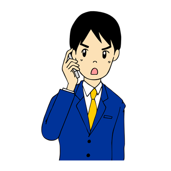携帯電話で話す男性イラスト