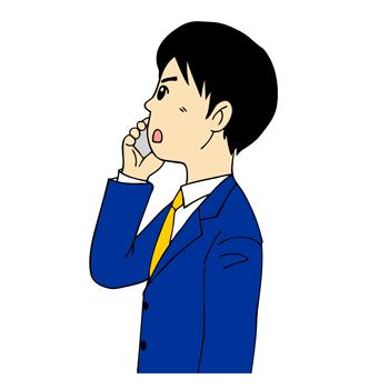 横顔携帯電話で話す男性イラスト