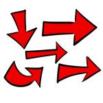 フリー素材手書き矢印赤