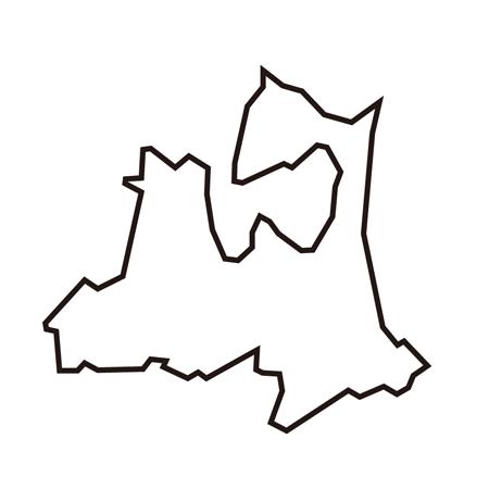 青森県線画地図イラスト