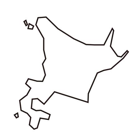 北海道線画地図イラスト