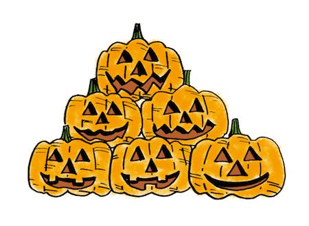 ハロウィンかぼちゃ積むイラスト