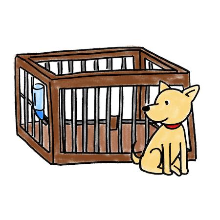 犬用ケージサークルイラスト