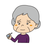 体温計で熱を計る高齢者イラスト
