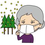 花粉症に悩む高齢者イラスト