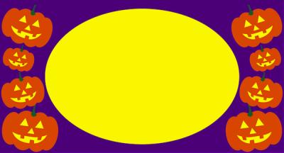 紫背景のお化けカボチャ枠フレームイラスト