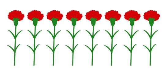 カーネーション花並ぶ無料イラスト