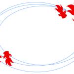 水面を泳ぐ2匹の金魚フレーム枠