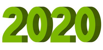 2020年3D立体文字ロゴイラスト緑色