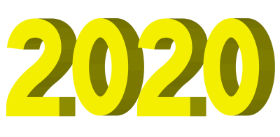 2020年3D立体文字ロゴイラスト黄色