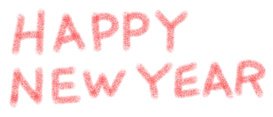 HAPPY NEW YEARハッピーニューイヤークレヨンタッチ赤