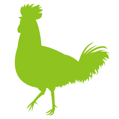 ニワトリ鶏シルエット影絵イラスト緑