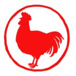 鶏シルエット丸判はんこスタンプ年賀状素材酉年イラスト