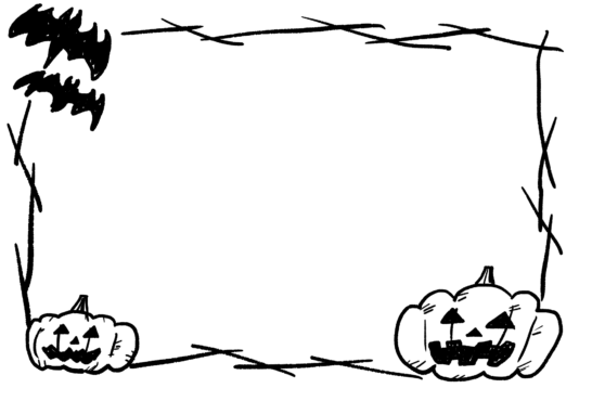 【怖いハロウィン】手書きイラストフレーム枠2